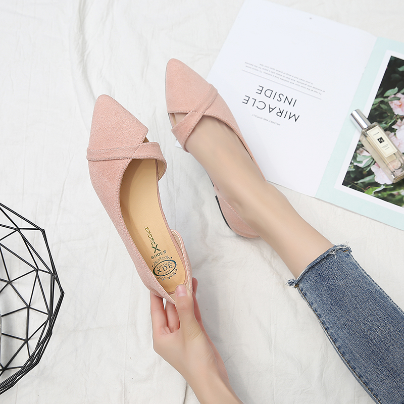 Women Simple Pointed Scoop Lazy Peas Shoes Ladies Fashion Plus Size Flat Shoes