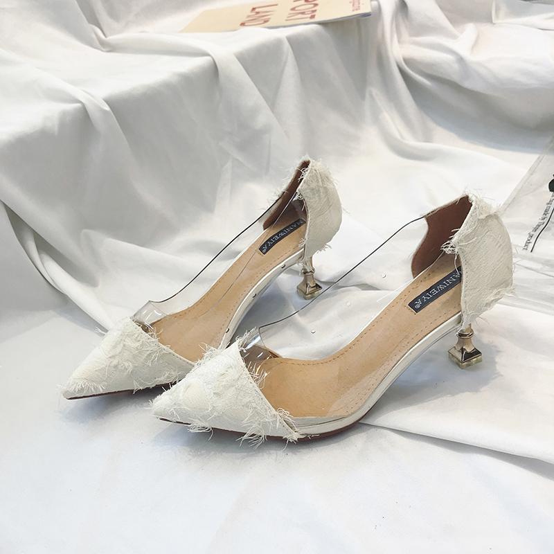 Women Pointed Tassel Transparent Sexy High Heels Fashion Fairy Chic Stiletto