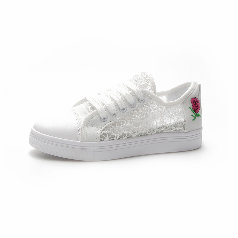 Women Lace Flower Breathable Comfortable Style Low Heel Chic Plus Size Sneakers