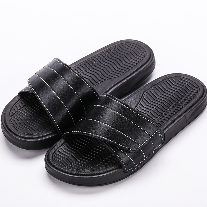 Men\'s Velcro Leather Surface Summer Fashion Slippers Indoor Outdoor Flip Flops