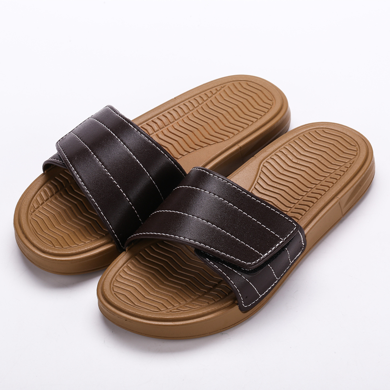 10555c76c818 Men s Velcro Leather Surface Summer Fashion Slippers Indoor Outdoor Flip  Flops