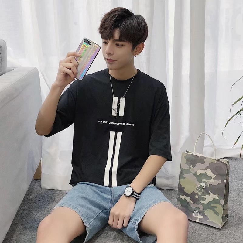 Men's Loose Cotton Round Neck T Shirt Daily Wear Handsome Fashion Basic Tees