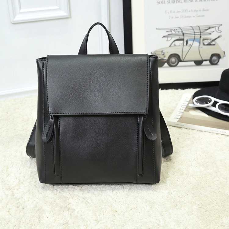 Women Black Simple Leather Backpack Dual Use Shoulder Retro Style Chic Backpack