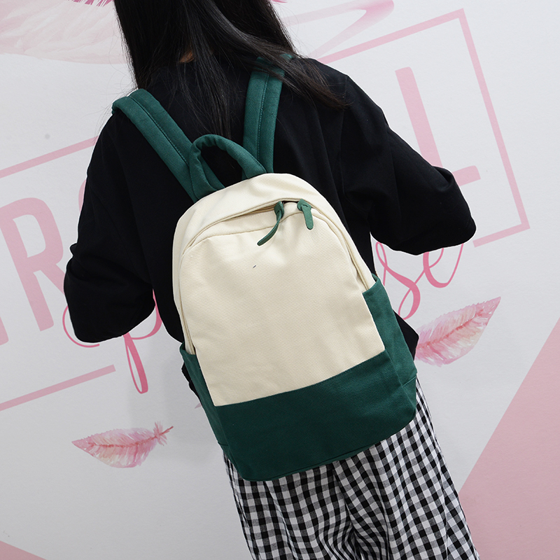 Women Simple Canvas Student Backpack Large Capacity Outdoor Travel Fashion Bag