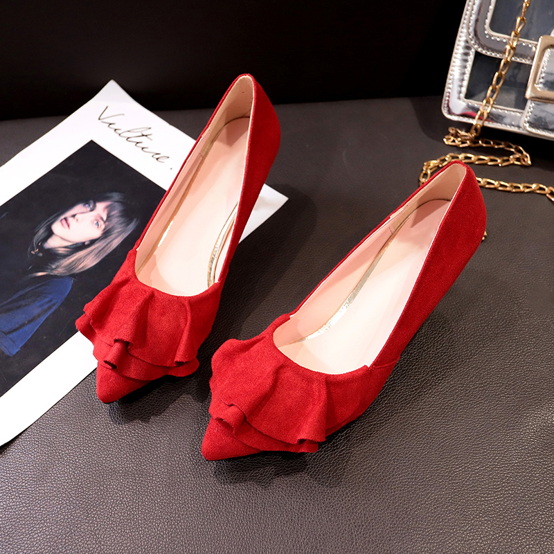 Women Ruffled Pointed Stiletto Suede Casual Fashion Chic Sexy High Heels