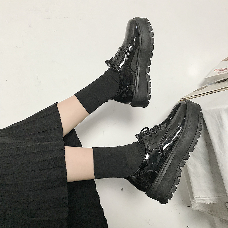 Women Black Shiny Leather Casual Lace Up Working Boots Thick Sole Fashion Shoes