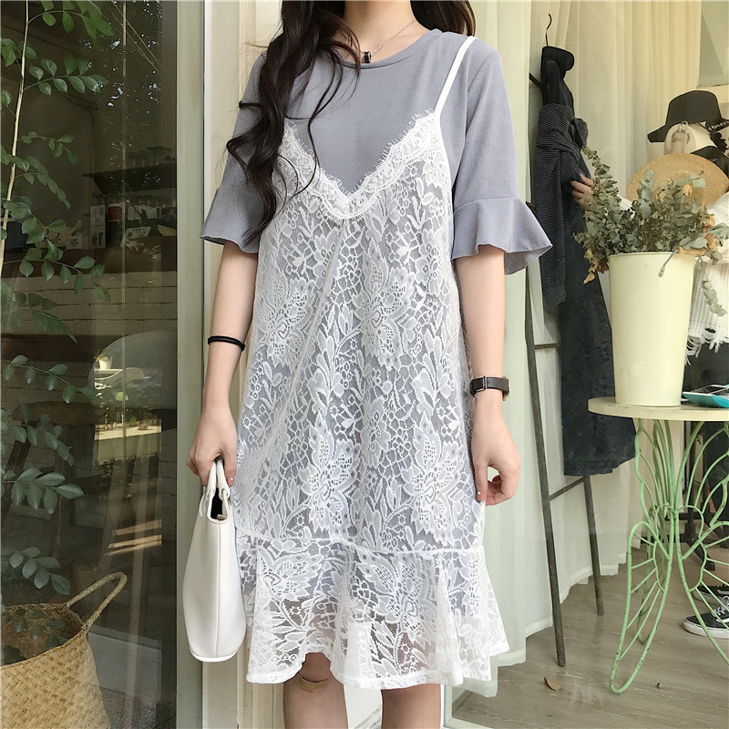 Women Two Piece Dress Ruffled Mid Skirt Floral Lace Mid Sleeve Dress Set