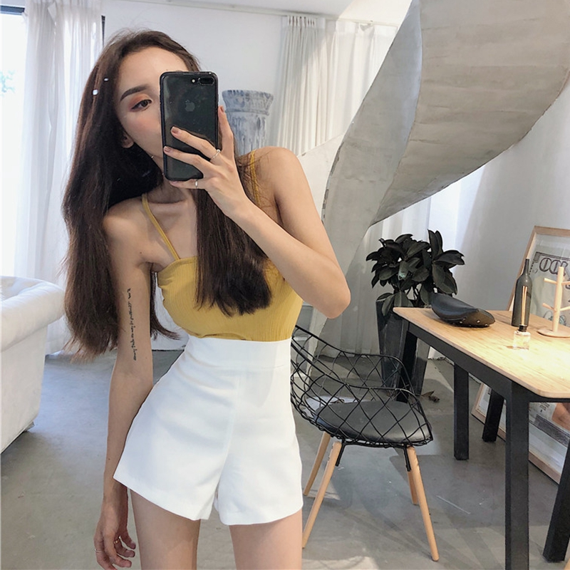 Women Solid Color High Waist Shorts Slim Fit Casual Chic Fashion Ladies Bottoms