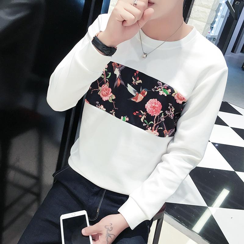Men\'s Round Neck Long Sleeve Floral Design Spring Sweatshirt Plus Size Tops
