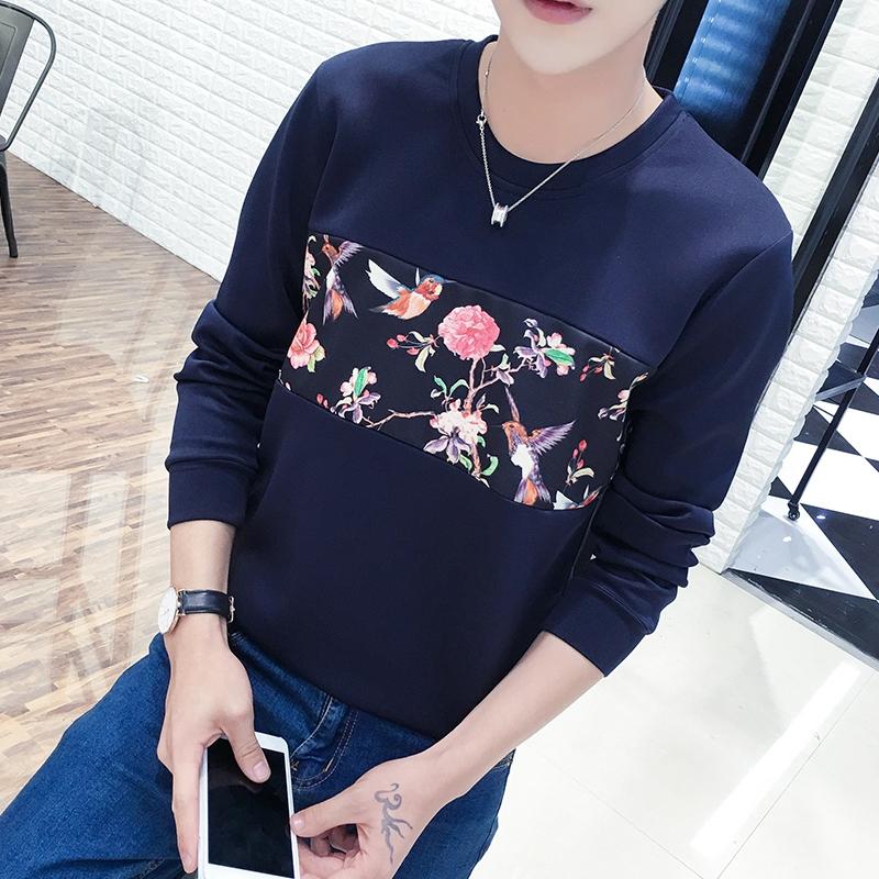 Men's Round Neck Long Sleeve Floral Design Spring Sweatshirt Plus Size Tops