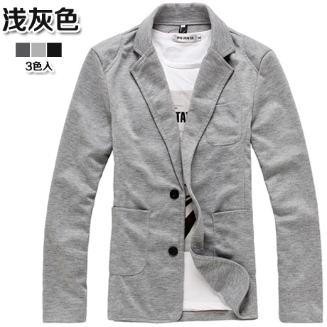 Men\'s Cotton Solid Color Suit Cardigan Polo Collared Long Sleeve Fashion Jacket