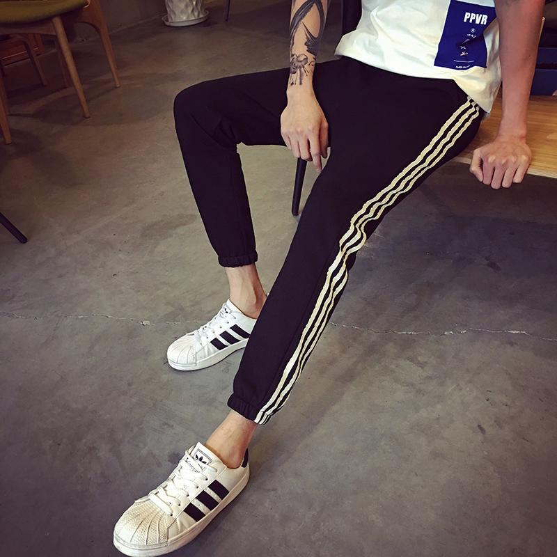 Men\'s Side Stripes Sports Trousers Slim Fit Sweatpants Male Fashion Bottoms