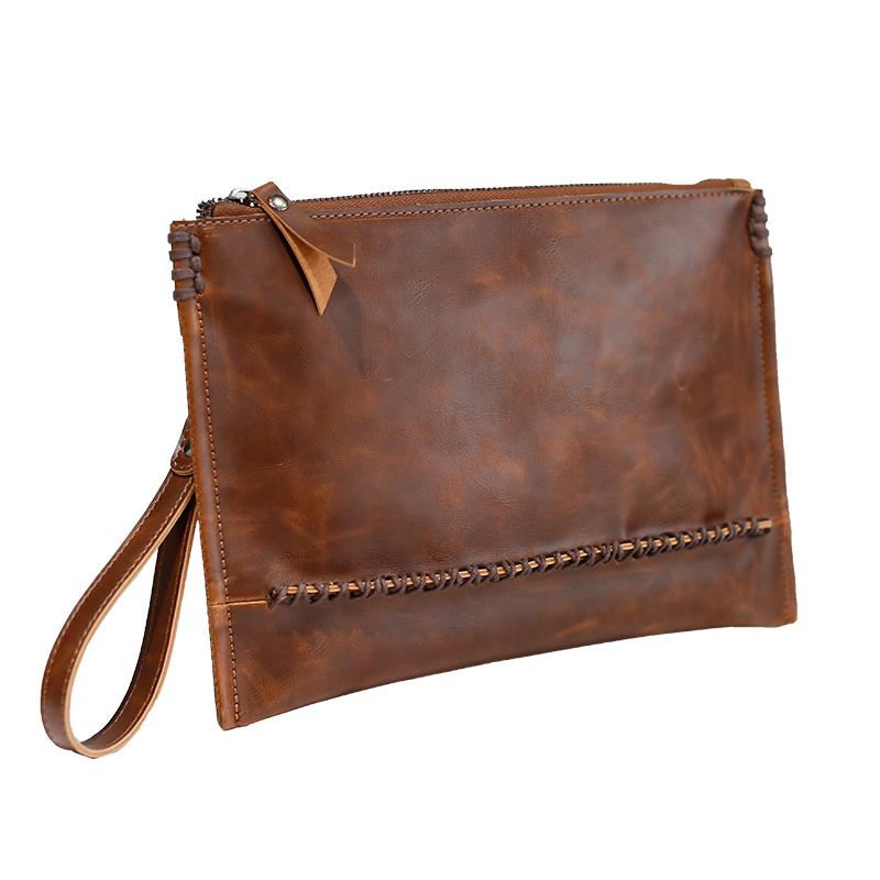 Men\'s Brown Handy Clutch Bag Male Leisure Trend Envelope Bag Fashion Mobile Bag