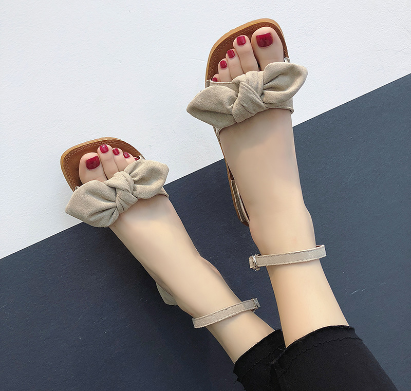 Women Simple Suede Bow Low Heel Sandals Square Head Summer Fashion Shoes