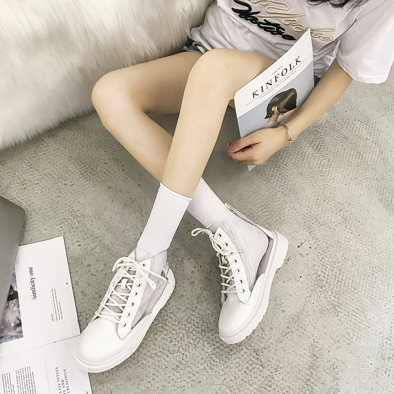 Women High Cut Transparent Hip Hop Boots Lace Up Low Heel Martin Fashion Boots