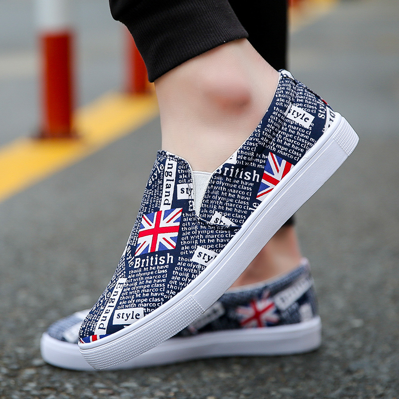 2775ae2378d8 Men s Printed Flat Heel Lazy Shoes Daily Wear Fashion Male Trendy Canvas  Shoes