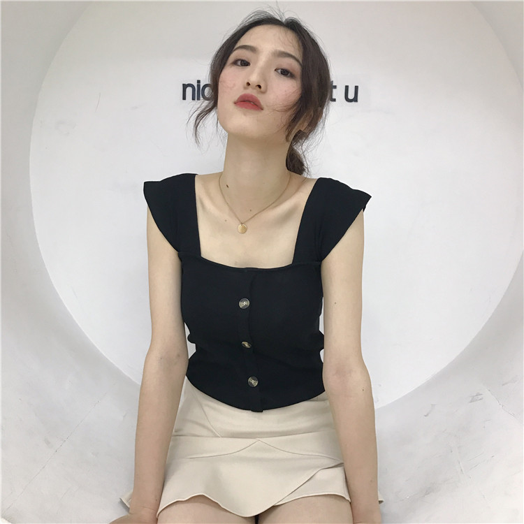 a0f862491a8e1 Women Knit Vest Blouse Square Collar Slim Fit Korean Chic Fashion Ladies  Tops
