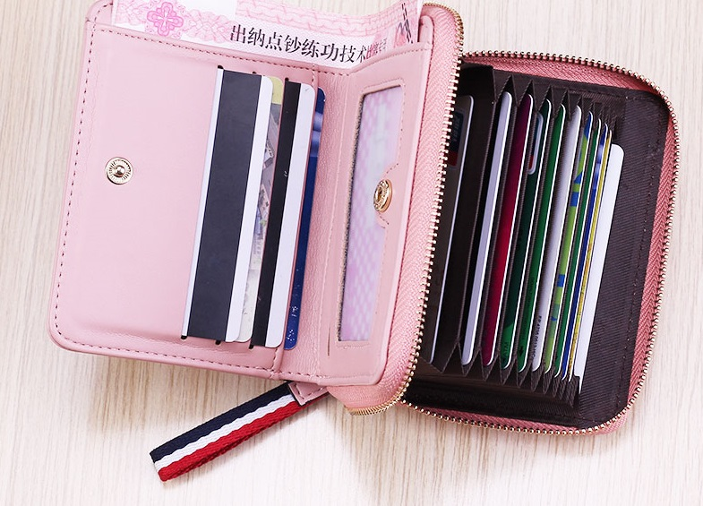 Women Soft Leather Small Zippered Wallet Multi Card Compartment Ladies Purse