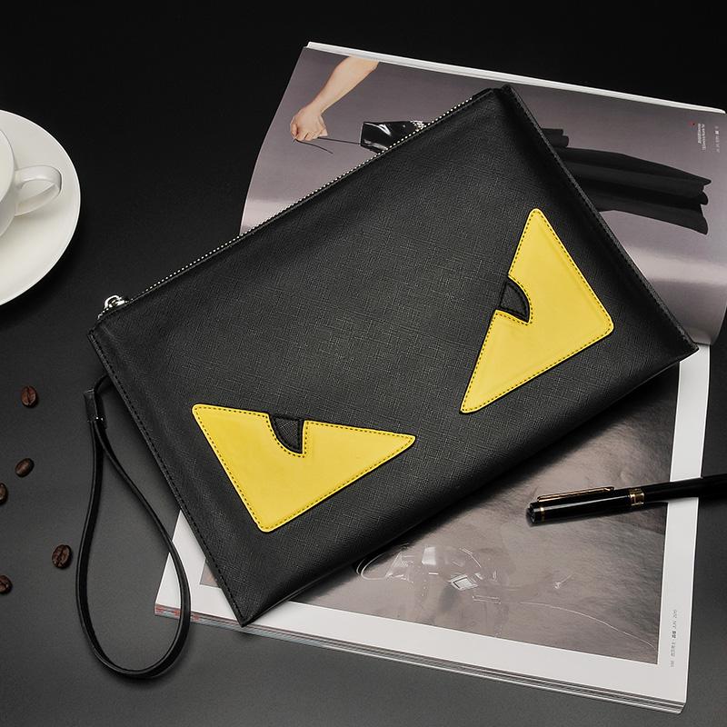 Men\'s Mad Eye Clutch Hand Bag Zippered Envelope Style Male Fashion Purse Bag