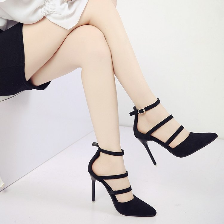 Women Sexy Suede Pointed High Heels Ankle Buckle Strap Ladies Plus Size Sandals