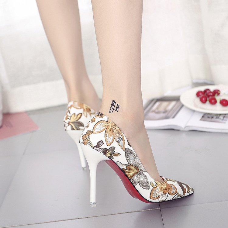 Women Classy Floral Sexy High Heels Retro Chic Fashion Ladies Stiletto Shoes