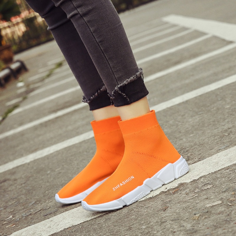 Women Knitted Wool Elastic Socks Ankle High Boots Thick Sole Plus Size Boots