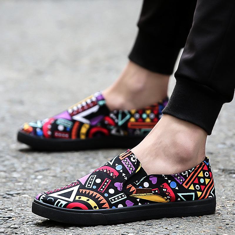 Men\'s Multi Color Print Pattern Canvas Shoes Male Hot Trend Pedal Lazy Shoes
