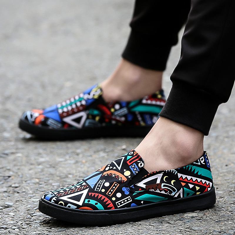 Men's Multi Color Print Pattern Canvas Shoes Male Hot Trend Pedal Lazy Shoes