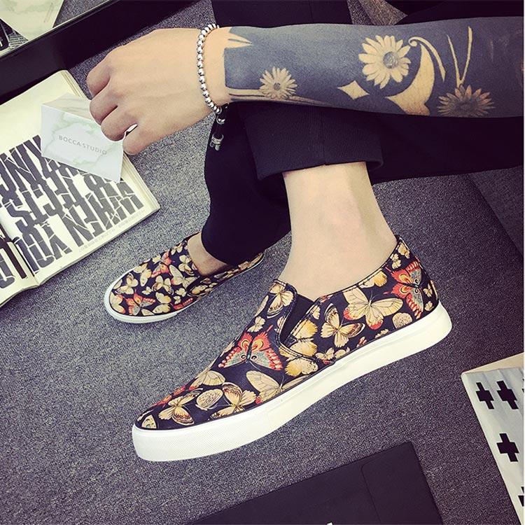 Men\'s Butterfly Graffiti Canvas Shoes Trendy Street Wear Fashion Pedal Shoes