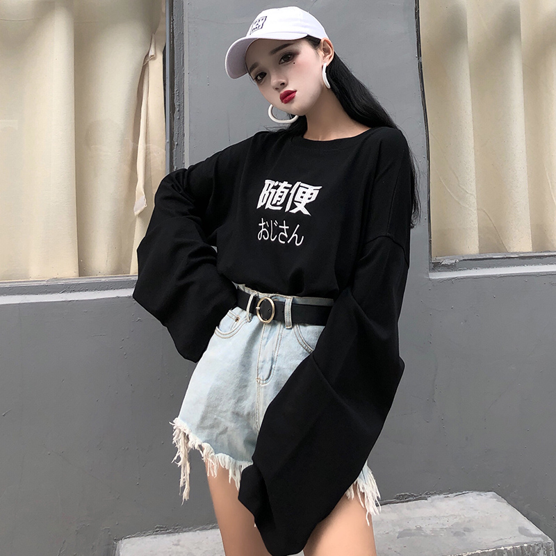 f5e595f4bbe3ea Women Hip Hop Super Loose Long Sleeve Shirt Retro Hot Trend Plus Size Tops