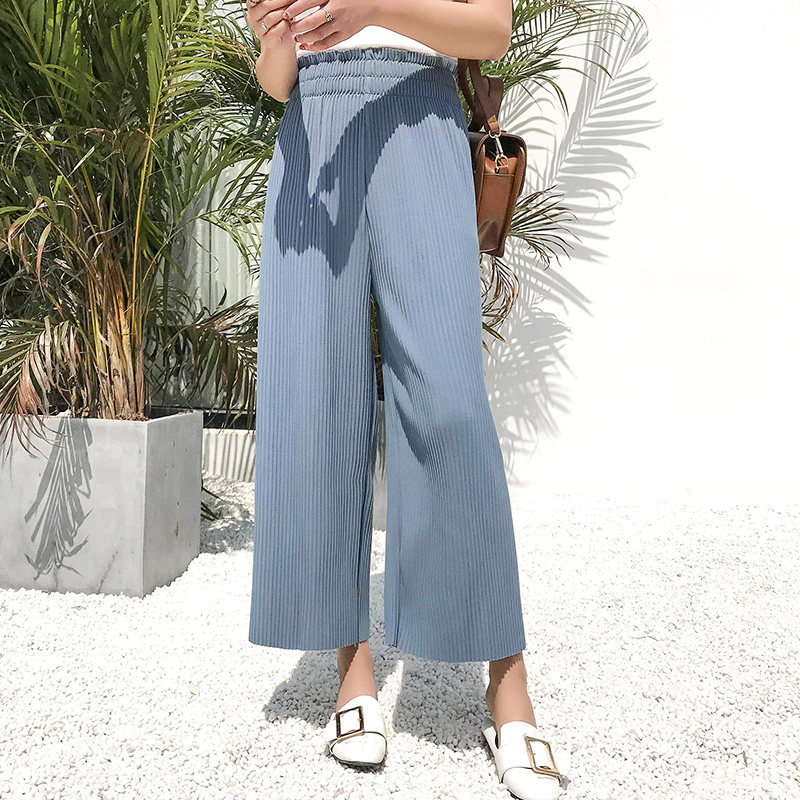 Women Straight Cut Loose Pleated Trousers Wide Leg Casual Plus Size Bottoms