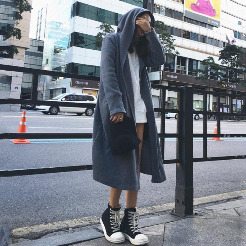Women Hooded Long Cardigan Coat Sweater Windbreaker Winter Fashion Long Jacket