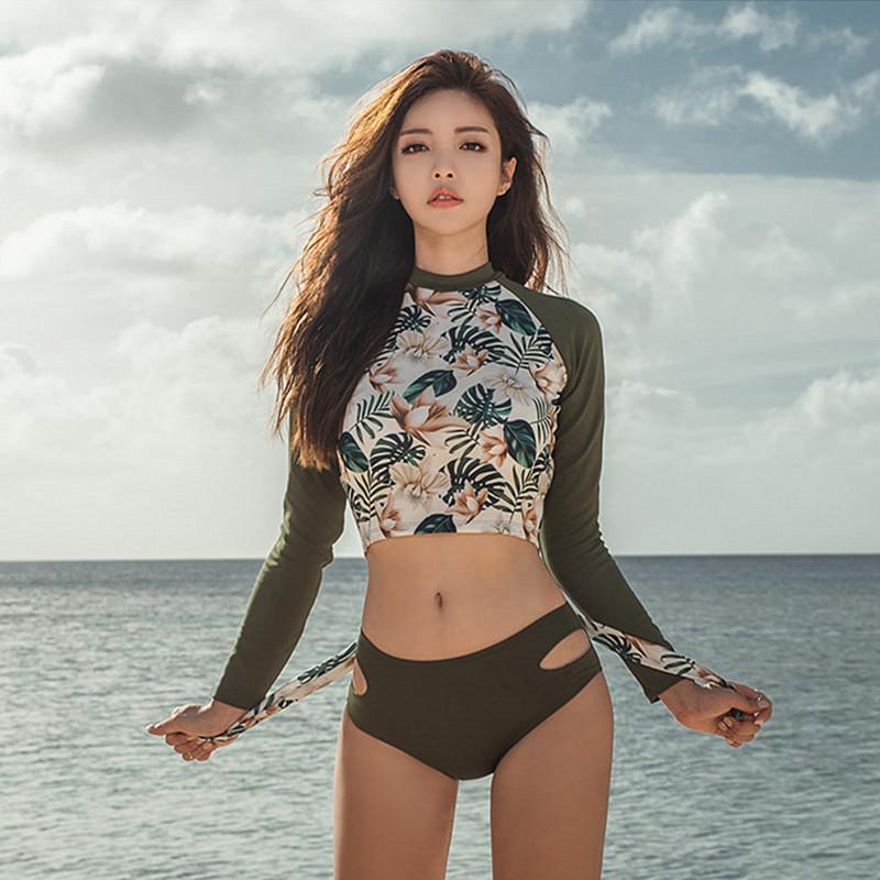 Women Army Green Nature Swimwear Split Type Long Sleeve Plus Size Bikini Set