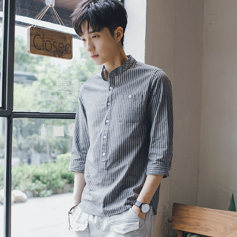Men\'s Striped Quarter Sleeve Standing Collar Korean Fashion Casual Shirt