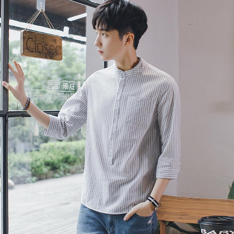 Men's Striped Quarter Sleeve Standing Collar Korean Fashion Casual Shirt