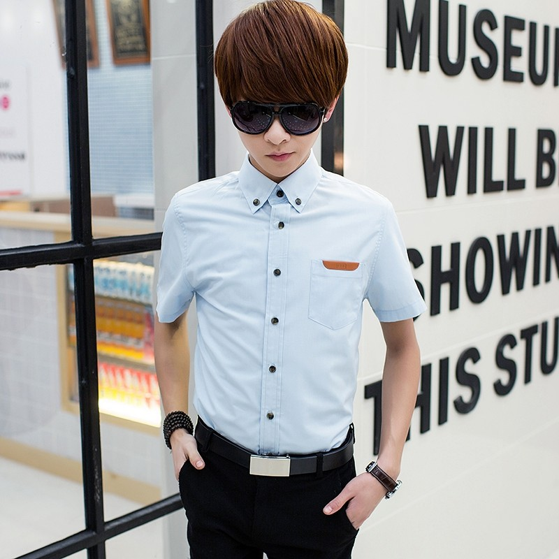 Men\'s Casual Light Color Polo Shirt Short Sleeve Button Up Fashion Shirts