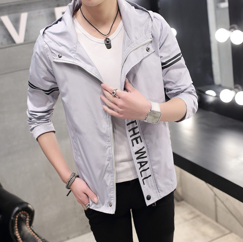 Men\'s Handsome Hooded Thin Jacket Street Trend Plus Size Fashion Jacket