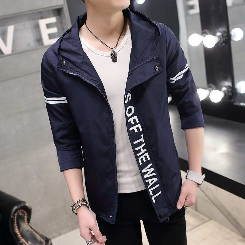 Men's Handsome Hooded Thin Jacket Street Trend Plus Size Fashion Jacket