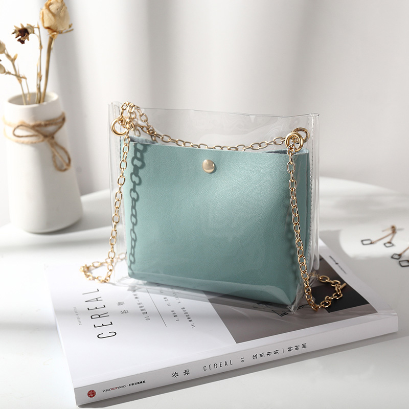 Women Transparent Trendy Jelly Bag Chain Handle Fairy Fashion Shoulder Bag