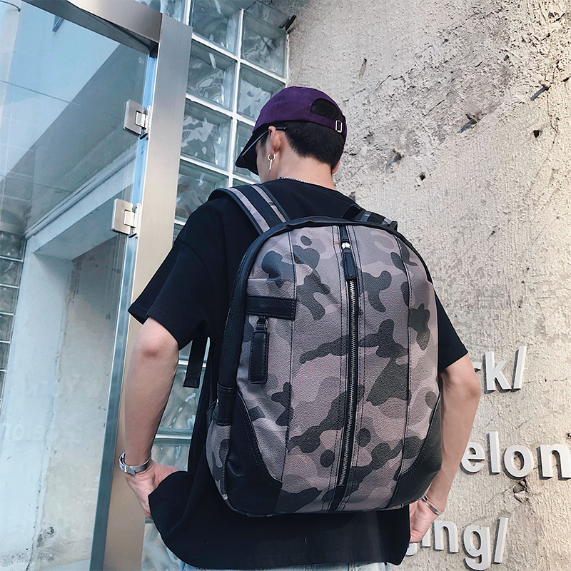 Men\'s Camouflage Leather Large Capacity Backpack Travel Outdoor Camping Backpack