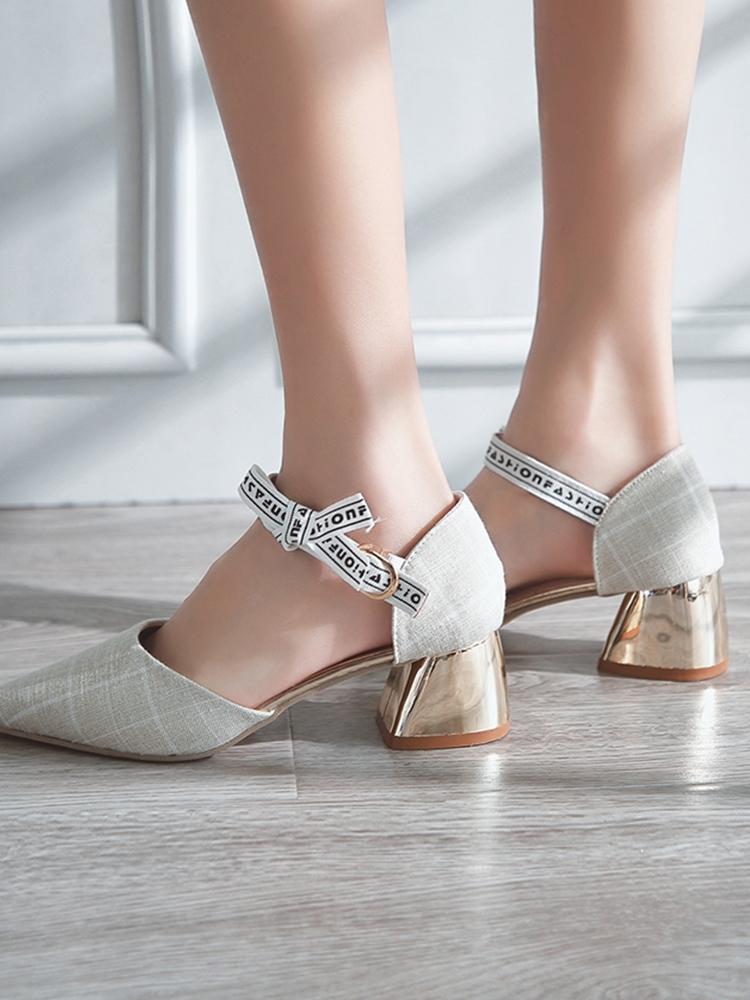 Women Baotou Pointed Sandals Cute Ribbon Buckle Square High Heels Chic Fashion