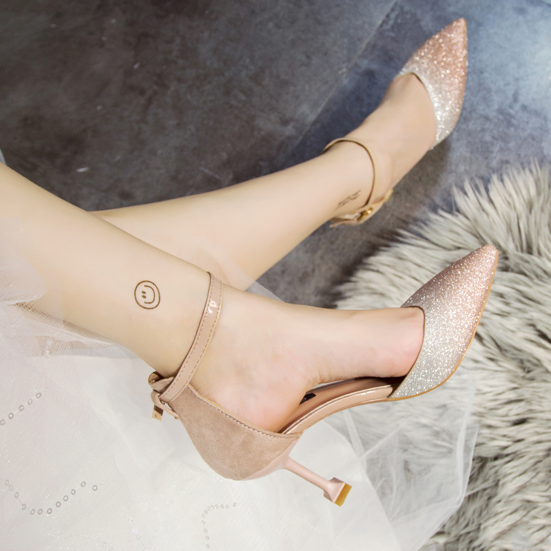 Women Gradient Sequins Fairy High Heels Pointed Ankle Buckle Sexy High Heels