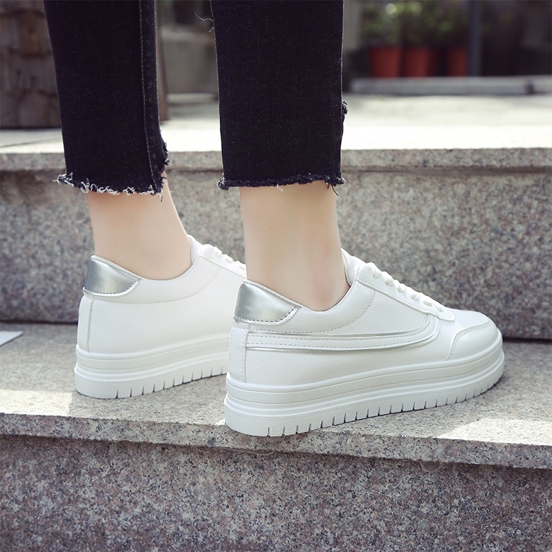 Women White Fashion Sneakers Mid High Flat Bottom Lace Up Plus Size Sports Shoes