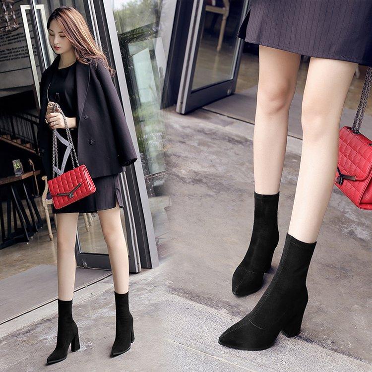 Women Elastic Martin Boots Rear Zipper High Square Heels Classy Fashion Boots