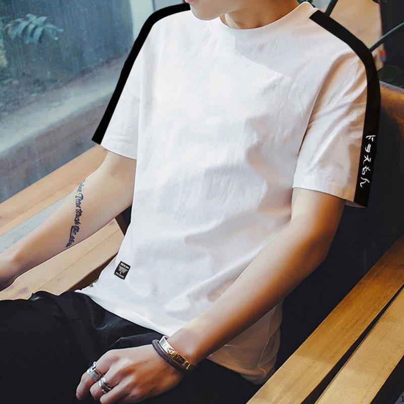 Men\'s Basic Round Neck Short Sleeve Loose Tops Male Fashion Plus Size Tees