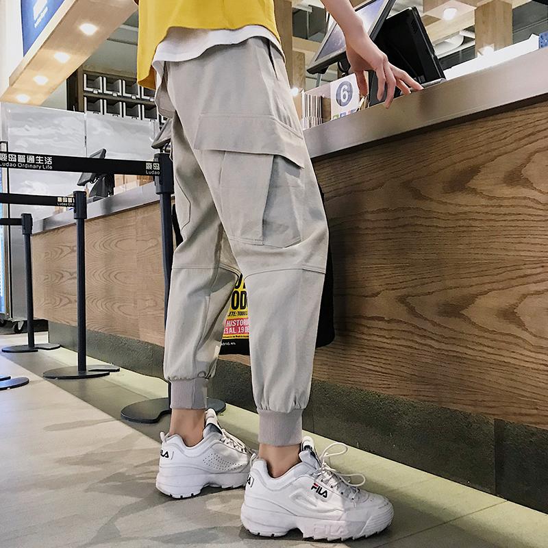 Men\'s Crop Pants Double Side Pockets Loose Fit Male Street Wear Fashion Pants