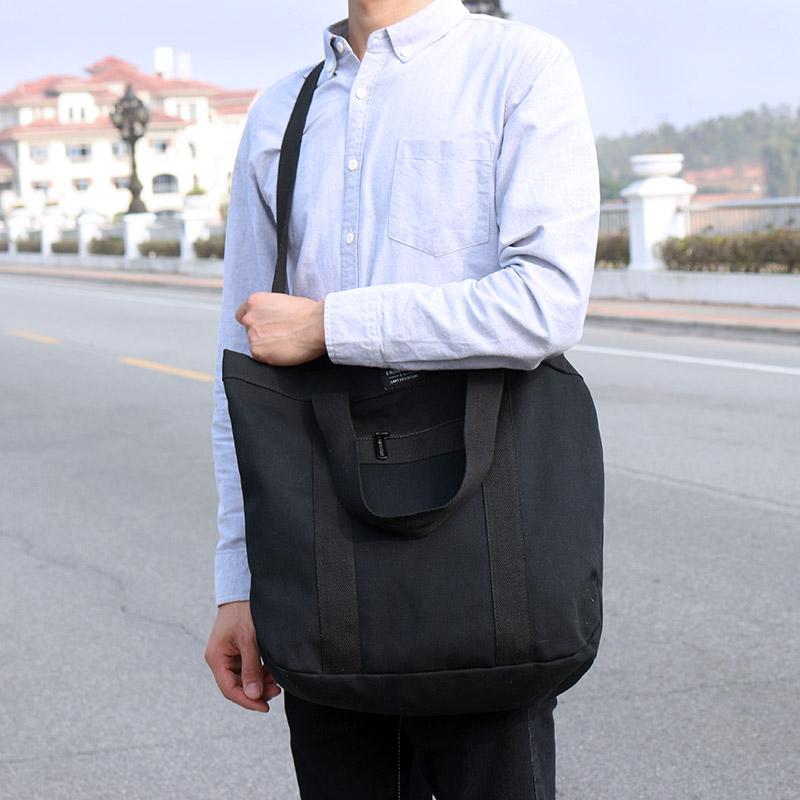 Men\'s Solid Color Simple Canvas Bag Large Capacity Travel Male Fashion Sling Bag