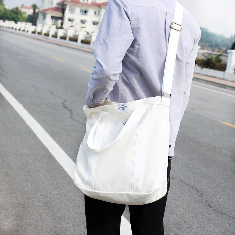 Men's Solid Color Simple Canvas Bag Large Capacity Travel Male Fashion Sling Bag