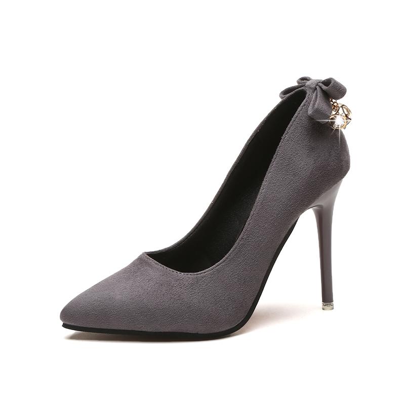 Women Suede Stiletto Sexy High Heels Back Rhinestone Accent Plus Size High Heels