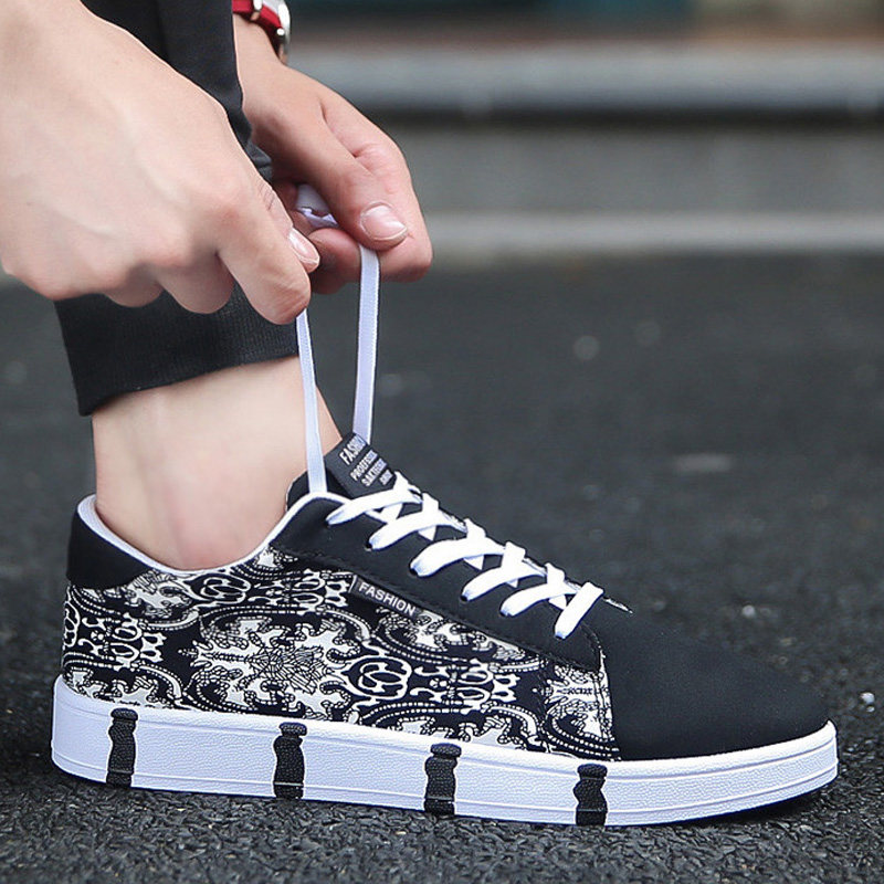 Men\'s Graphic Print Canvas Shoes Lace Up Hot Trend Fashion White Sole Style